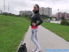 PublicAgent Alicia bent over and fucked over a haystack outside