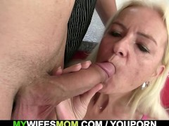 Old blonde seduces son in law