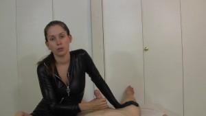 Catsuit girl gives POV teasing handjob to big cumshot