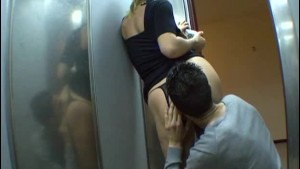 Slut blonde Joyce get anal in a lift