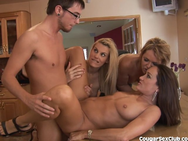 3 horny milfs sink their claws into younger guy 6