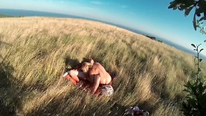 Couple fucking outdoors in the countryside