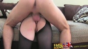 FakeAgentUK Filthy amateur deep throat rimming squirting and anal sex casting