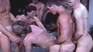 6-Man Orgy from 80's Gay Porn CABIN FEVER