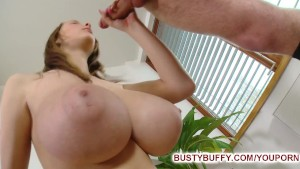 Busty Buffy tit fucked for cumshot on her naturals