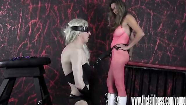 Femdom spanks blonde crossdresser with huge strapon cock