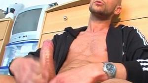 Testing his cock: Stefan, his huge cock get wanked by us!