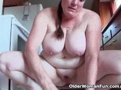 Granny with big tits cleaning the kit...