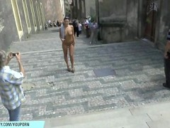 Hot czech babe natalie shows her naked body on public street