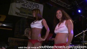 blonde nubile coeds letting loose in wild wet tshirt contest key west florida