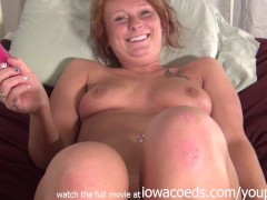 amateur ginger first timer using a rabbit dildo redhead