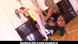 Enchanting lesbian gal licks a wet pussy