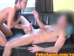 FakeAgent Hot Brunette Waitress wants to be Fashion model in Casting