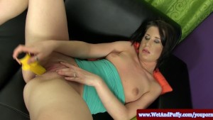 Puffy peach babe spreading with speculum
