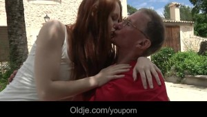 Big dicked old man fucks his horny young girlfriend