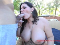 Big Titted Angelina Castro Does the Pool Boy!?!