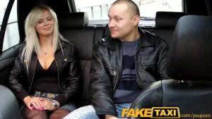 FakeTaxi Big tits blonde fucks partner on taxi backseat