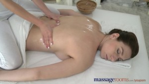 Massage Rooms Massive boobs lesbian has petite girls fingers inside her