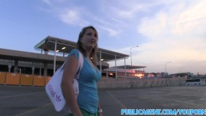 PublicAgent Blonde has sex with stranger in public