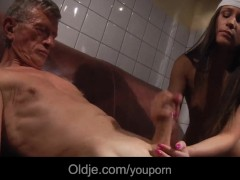 Old fart fucks Ashley's young ass in restroom