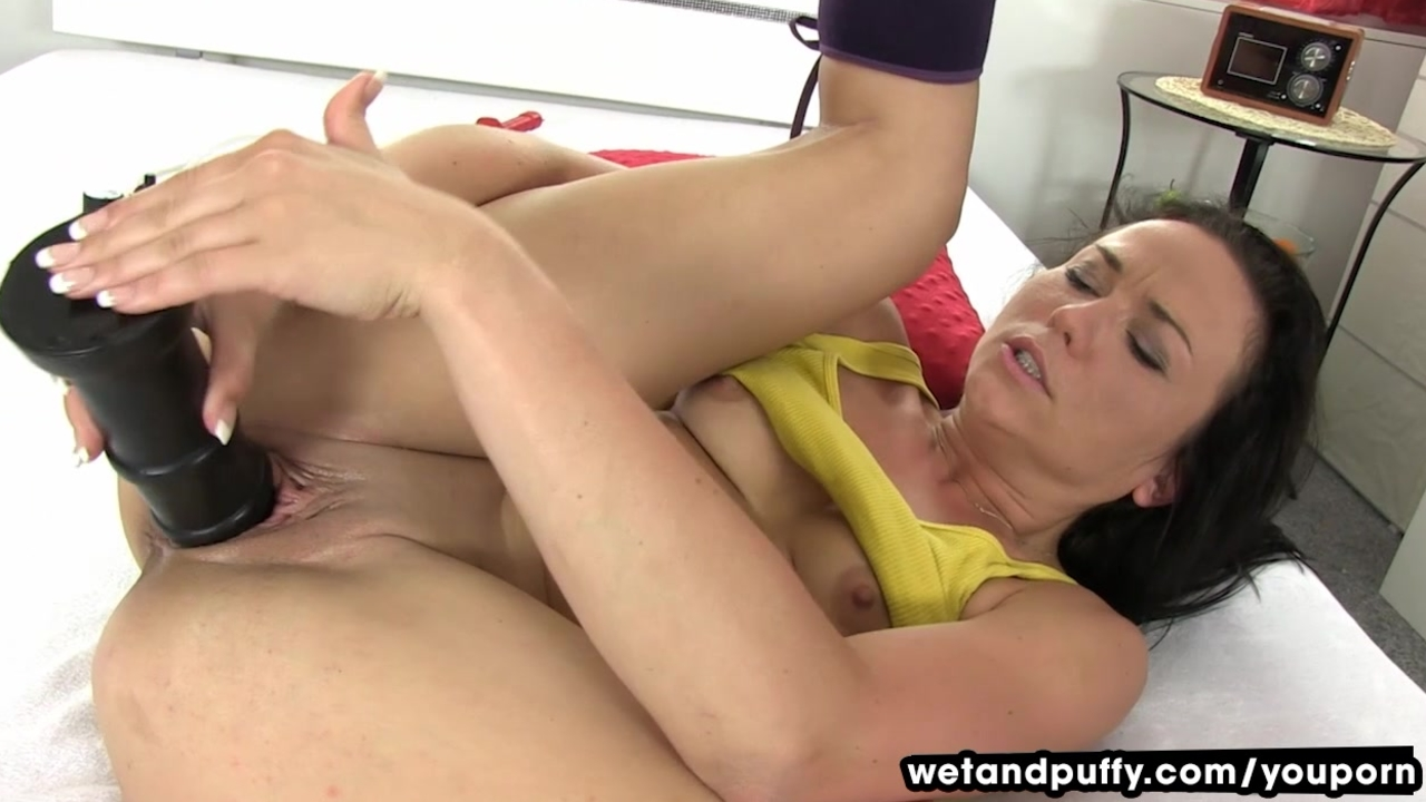 image Riding dildo orgasm with anal plug