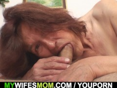 Mother inlaw riding his cock