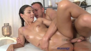 Massage Rooms Beautiful brunette screams from intense sensual orgasm