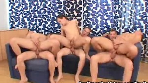 Hot Gay Men Orgy On The Couch