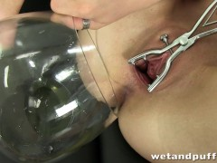 Picture Pouring pee into her gaping snatch