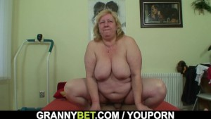 Huge titted granny and boy
