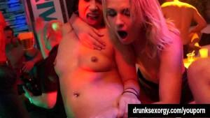 Lesbian pornstars lick twats in club