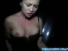 PublicAgent Black haired babe fucks stranger in the dark