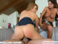 Busty babe Mia Lelani share cock with a lesbian
