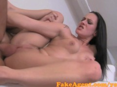 nana chatte: fakeagent raven haired babe gets her shaved pussy covered in spunk