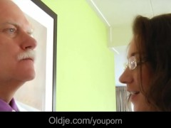 : Old majordom fucks his horny young lady boss