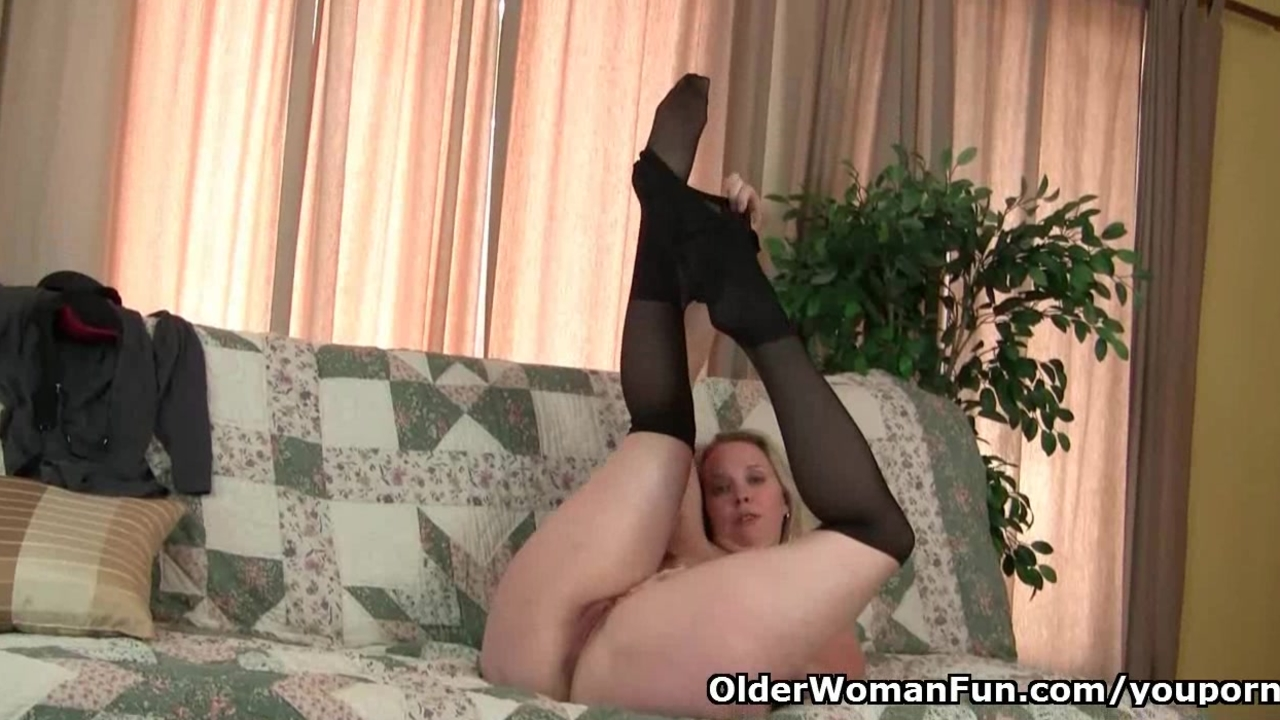 Moms pantyhosed pussy gets her all hot and horny