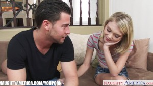 Small titted blondie Dakota Skye gets facialized