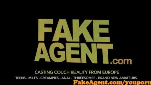 FakeAgent Cute amateur with raven hair takes first time Creampie