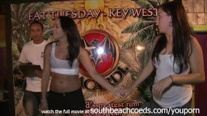 gorgeous college girls in a fat tuesday key west wet tshirt contest getting full nude in  public