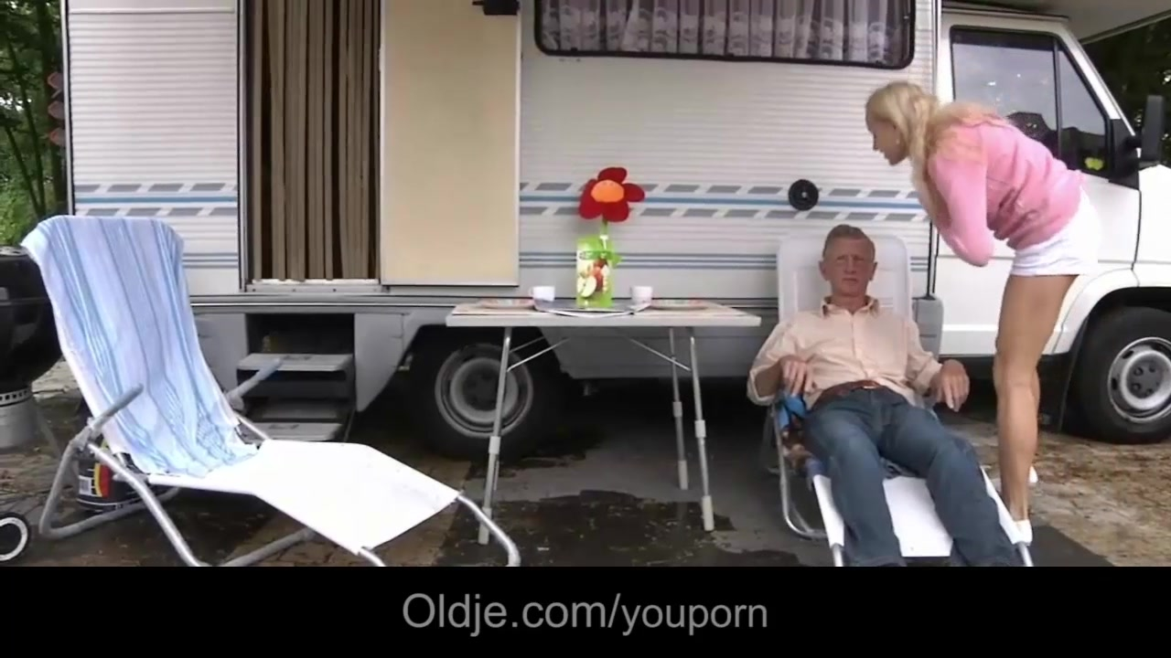 Old man fucks his young wife in a camp settle