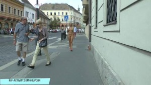 Blonde babe jenny naked on public street