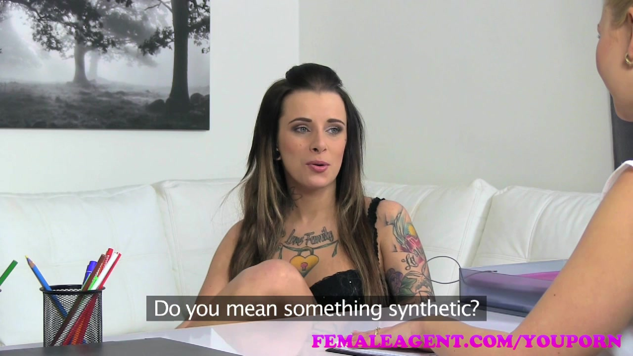 FemaleAgent Tattooed beauty gets her first lesbian orgasm from strap on