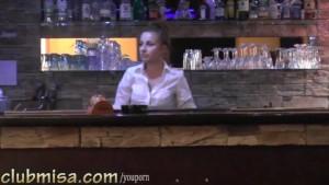Sexy waitress fucks hard with horny customer
