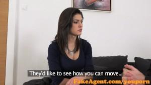 FakeAgent Classy brunette amateur sucks and fucks in Casting