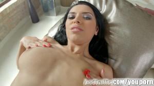 Ass Traffic After anal sex session she swallows load of cum