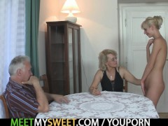Picture Perverted old couple have fun with Young Gir...