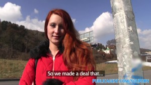 PublicAgent Sexy ginger babe fucks outside in public