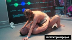 Party hookers gets fucked in public