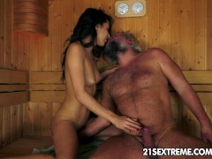 Picture Old man's sauna adventure with a smokin...