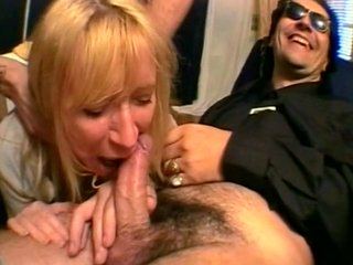 Milf blows two guy in the car seat of a car - Java Productions